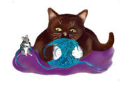 Blue Ball of Yarn with Mouse and Kitten