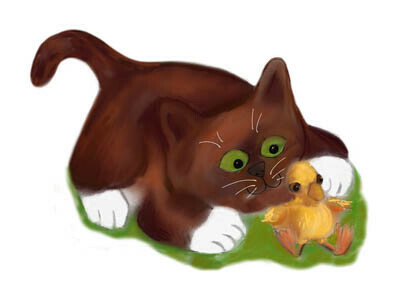 Brown Tuxedo Kitten and Duckling  are Best Friends