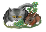 Bunny and Kitten Find Four Leaf Clover