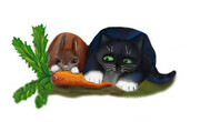 Bunny and Kitty Share a Carrot