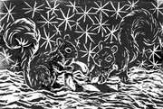 Candy Cane & Two Squirrels - block print