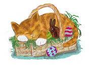 Cat Nap in an Easter Basket