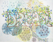 Dream - bubbles, lettering and repeating patterns