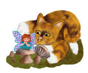 Fairy Rests on a Mushroom in front of a Curious Kitten