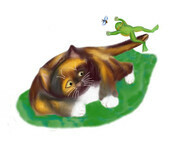 Frog Leaps over Calico Kitten's Tail