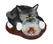 Hamster Ball and Curious Kitten