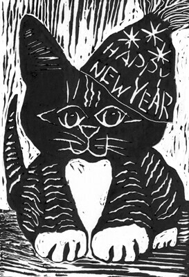 Happy New Year Cat - Block print