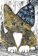 Happy New Year Cat - Block print in color
