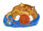 Mouse and Tiger Kitten Play with a red Ball of Yarn