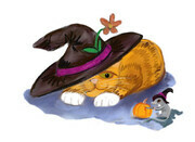 Orange Tiger Kitten and Mouse Don Witch Hats