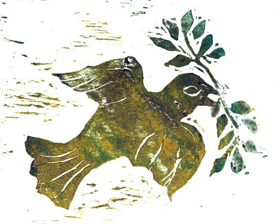 Peace Dove - Block print in color