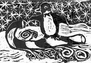 Penguin on Candy Cane Sled Block print