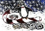 Penguin on Candy Cane Sled Block print in color