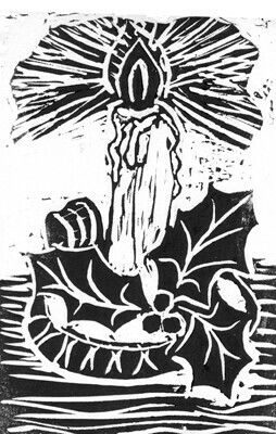 Single Candle with Holy Sprig - Block print