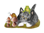 Snail on Toadstool with Frog on Kitten