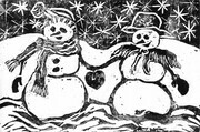Snow Couple - block print