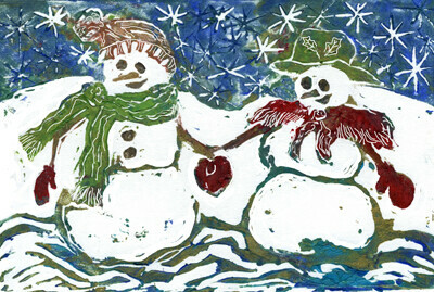 Snow Couple - block print in color