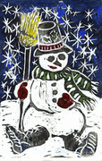 Snowman - block Print in color