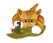 Sprite rides a Snail Past Kitty