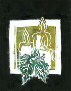 Three Candles Block Print in color